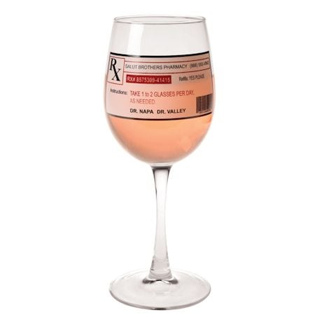 "Funny Prescription Wine Glass - 8"" holds 11 oz."
