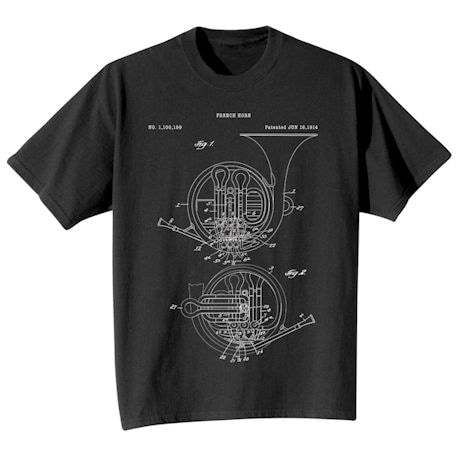 Vintage Patent Drawing Shirts - French Horn