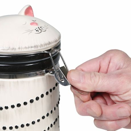 Sealable Ceramic Cat Treat Cookie Jar