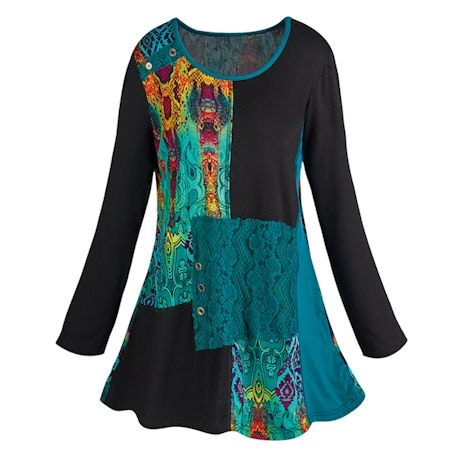 Abstract Art Long Sleeve Tunic Top