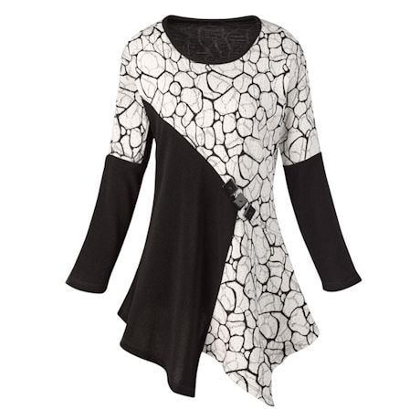 Black And Ivory Elegance Tunic Top
