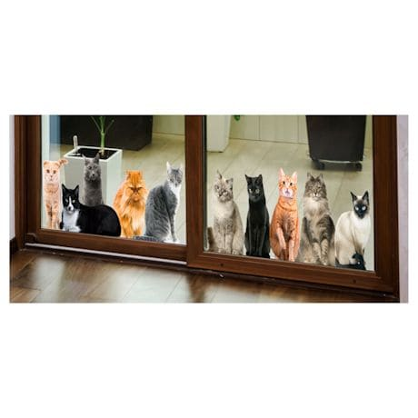 Cat House Window/Door Clings - Lying Down And Sitting