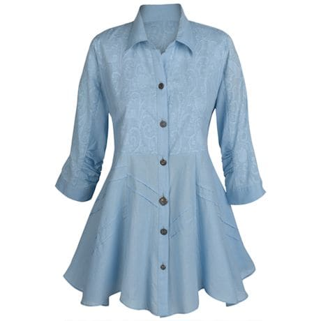 Soutache Sky Blue Tunic Top