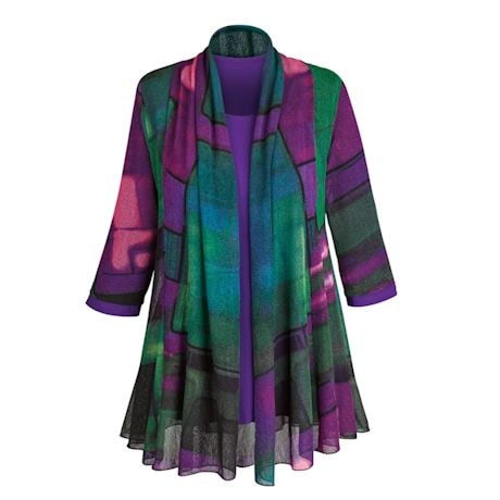 Purple Paradise Open Front Cardigan with Matching T-shirt