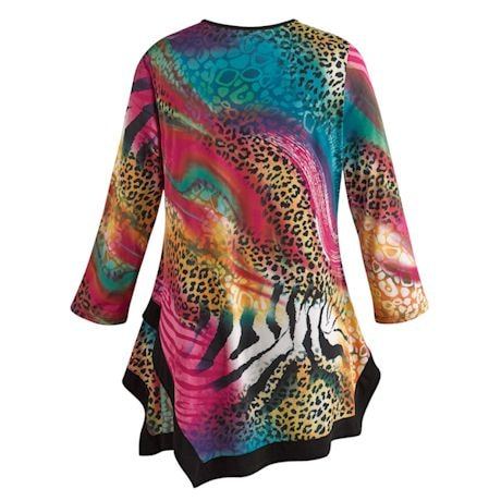 Jungle Brights Animal Print Swing Tunic Top