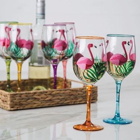 Handpainted Flamingo Wine Glasses Set