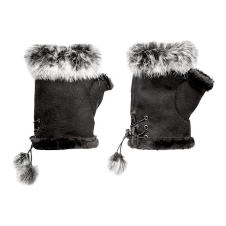 Faux Suede Fingerless Gloves