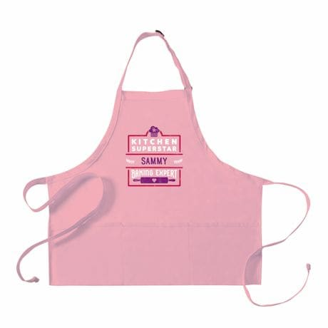 "Personalized Adult's Pink ""Kitchen Superstar"" Apron"