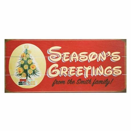 "Personalized ""Season's Greetings"" Christmas Tree Wood Wall Art"