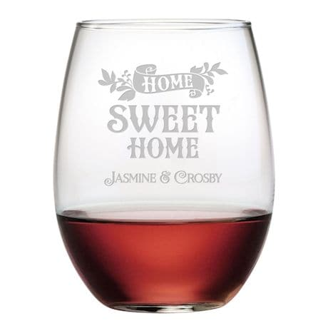 """Personalized """"Home Sweet Home"""" Stemless Wine Glasses - Set of 4"""