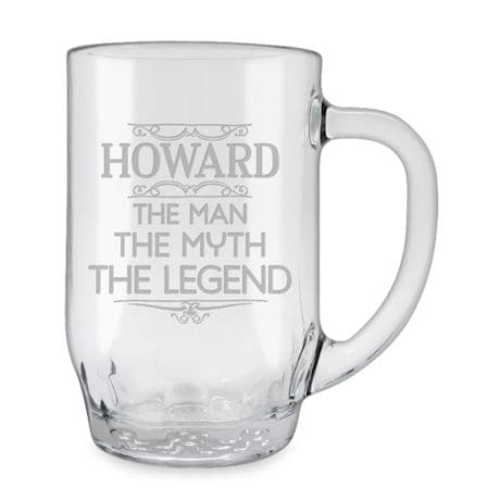 Personalized 'Man, Myth, Legend' Large Glass Mug