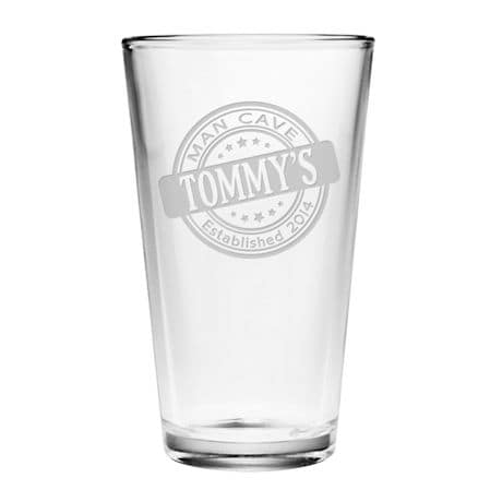 """Personalized """"Man Cave"""" Pint Glass"""