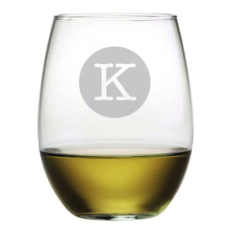 Personalized Initial Stemless Wine Glasses - Set of 4