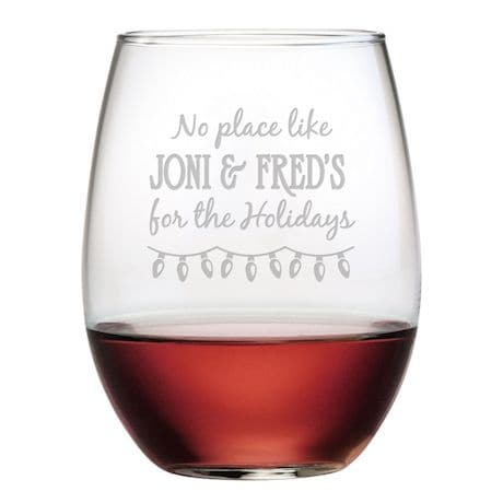 Personalized 'Home for the Holidays' Stemless Wine Glasses - Set of 4