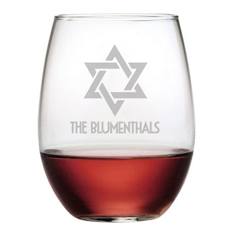 Personalized Star of David Stemless Wine Glasses - Set of 4
