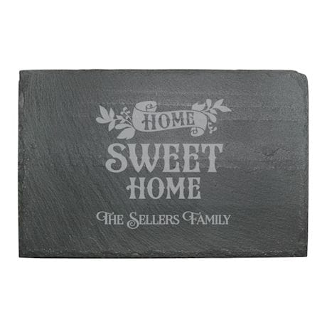 "Personalized ""Home Sweet Home"" Stemless Wine Glasses and Slate Cheese Board Set"