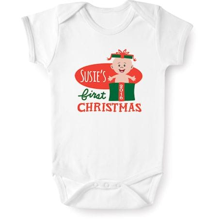 Personalized Baby's First Christmas 2016 Snapsuit