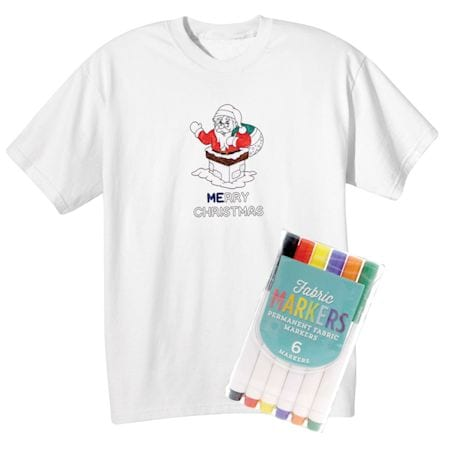 Children's Color Your Own Santa T-Shirt & Markers Set