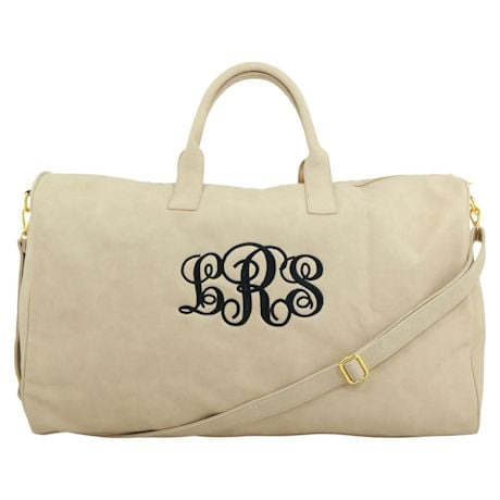 Monogrammed Faux Leather Duffel Bag