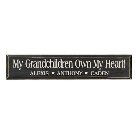 Personalized 'My Grandchildren Own My Heart!' Wood Wall Art