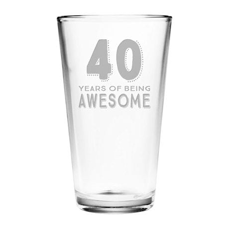 """Personalized """"Years of Being Awesome"""" Birthday Pint Glass"""