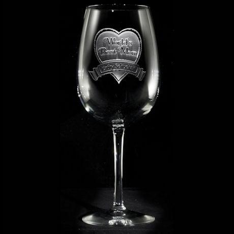 "Personalized ""World's Best Mom"" Wine Glass"
