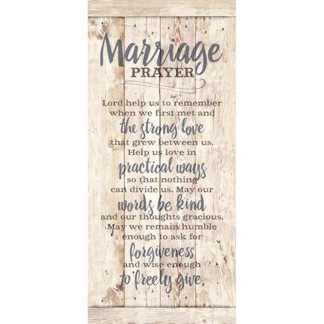"Marriage Prayer Wood Slat Plaque- Rustic Board Wall Sign - 6"" x 12"""