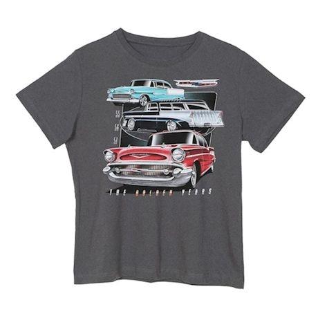 Tri-Five 55, 56, 57 Chevy Car T-Shirt - Short Sleeve - Charcoal Gray