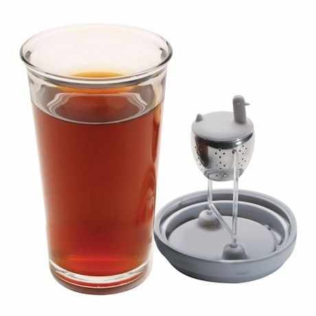 Duck Tea Infuser Glass Mug - Built In Stainless Steel Tea Ball - Grey - 16 Ounce