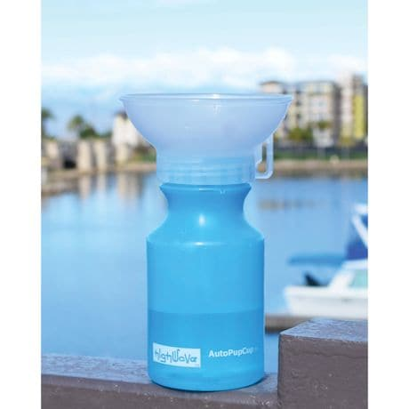 Autodogmug Mini - Portable Water Bowl For Puppies And Small Dogs - 14 Ounce - Blue