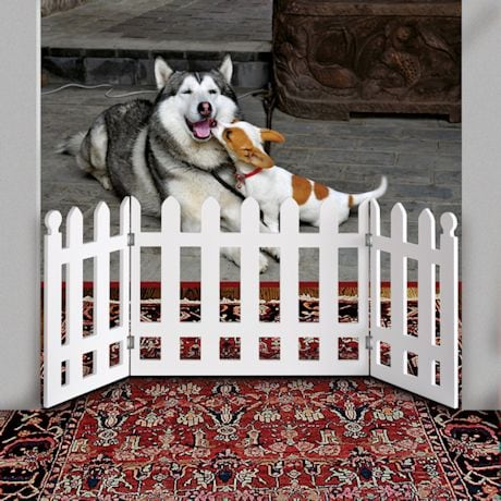 "White Picket Fence Folding Pet Gate - 19"" High X 42"" Long"