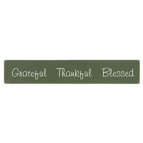 """Grateful Thankful Blessed"" Wood Plaque"