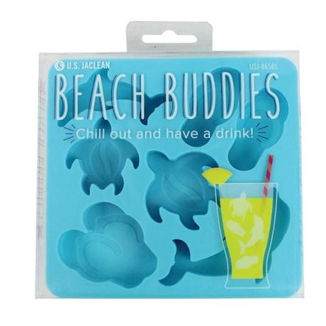 Beach Buddies Silicone Ice Cube Tray - Beach Themed Shaped Ice Cubes - Set of 2