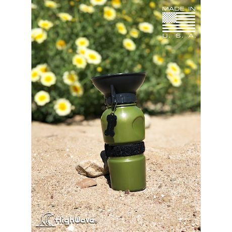 Highwave AutoDogMug - 20 oz Water Bottle for Dogs - Army Green