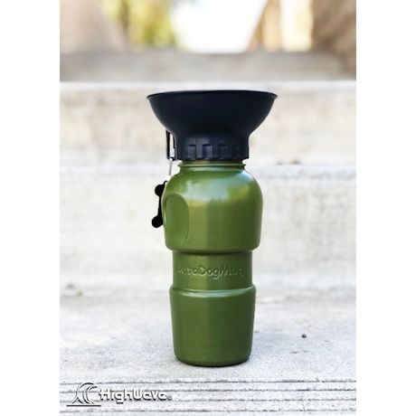 Highwave AutoDogMug Pet Sport Bottle - Portable Water Bowl - Holds 20 oz - Army Green
