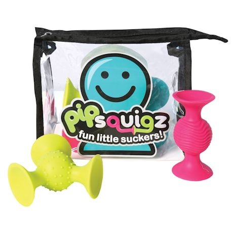 Fat Brain Toys PipSquigz 6 Piece Set with Storage Bag - Exclusive Rattle Suction Toy Building Set - BPA-Free