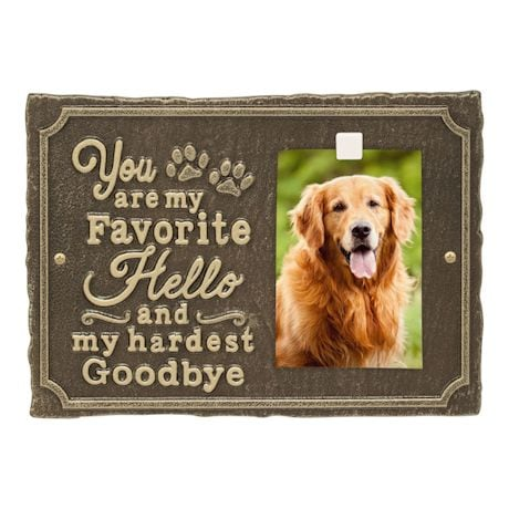 Whitehall My Favorite Hello Pet Photo Wall Sign - Decorative Keepsake Plaque with Animal Paw Prints and Picture Clip