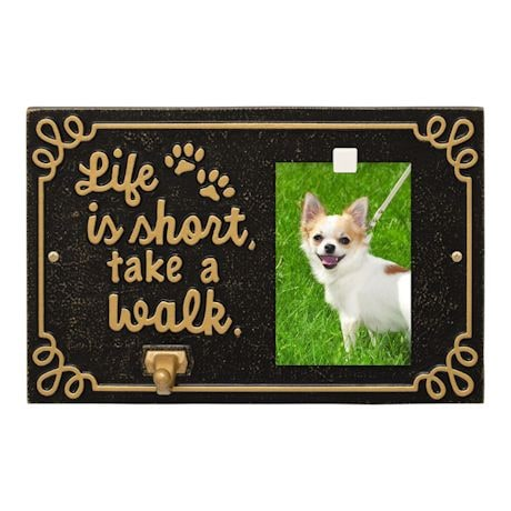 Whitehall Life is Short Take a Walk Pet Photo Wall Plaque with Leash Hook - Keepsake Animal Paw Print Sign