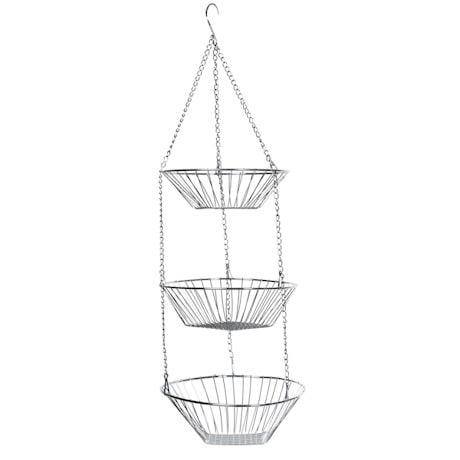 Home District 3-Tier Chrome Hanging Fruit Basket - Adjustable Graduated Wire Food Storage Bowls