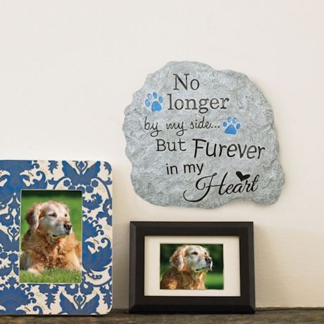 Pawriffic Pet Memorial Garden Stone and Wall Hanging - Indoor/Outdoor Paw Print Plaque for Dog or Cat