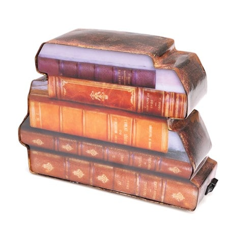 Stack of Books Shaped Backlit Lamp with Metal Frame
