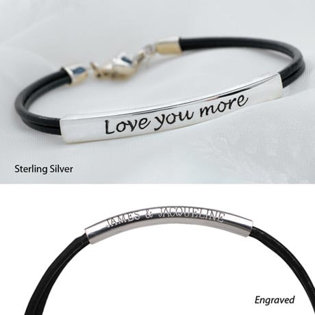 Love You More Bracelet Sterling Silver Engraved