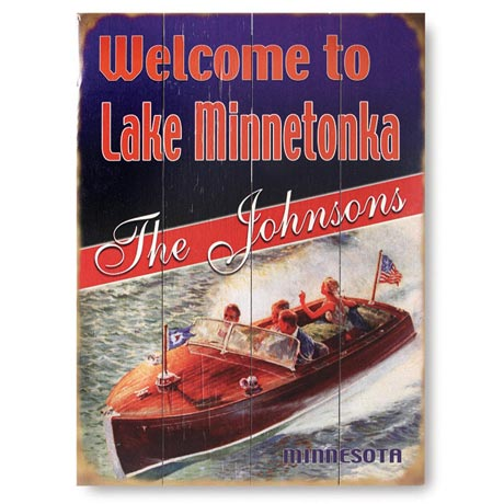 Personalized Welcome to Lake Sign on Wood