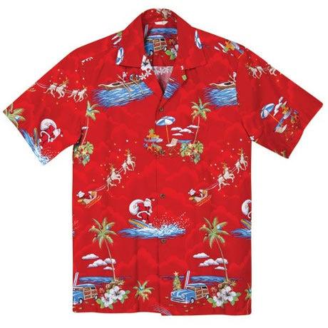Red Surfin' Santa Hawaiian Shirt
