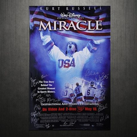 1980 USA Hockey Multi Signed 26x40 Miracle Poster (20 Sigs) (Comes With a Letter Listing Names)