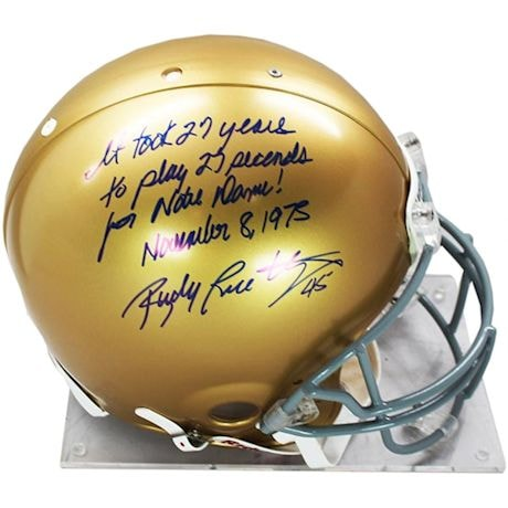 """Rudy Ruettiger Signed Authentic Notre Dame Full Size Helmet W/ """"It Took 27 Years For 27 Seconds For Notre Dame November"""