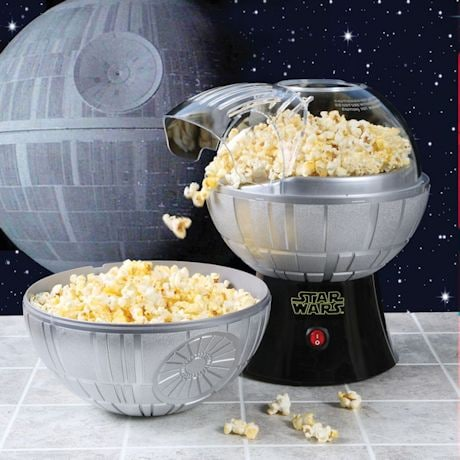 Star Wars Rogue One Death Star Hot Air Popcorn Maker and One 2 lb Bag of Empire Dark Side Popcorn