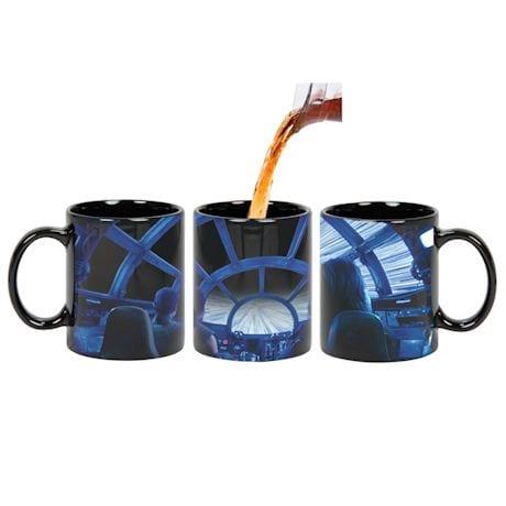 Star Wars Rey & Chewie Millennium Falcon Cockpit Hyperspace Heat Changing Coffee Mug