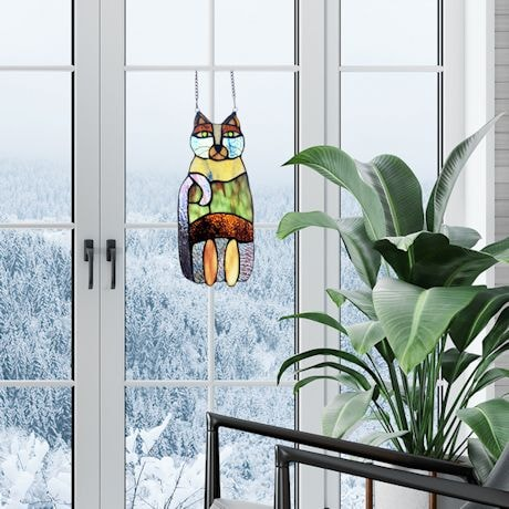 Crazy Cat Stained Glass Window Panel