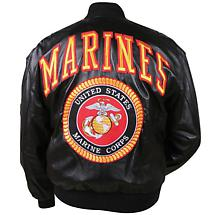 MARINES LEATHER MILITARY JACKET